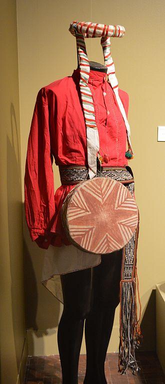 Rarámuri - Traditional Tarahumara male dress displayed at the Museo de Arte Popular in Mexico City.