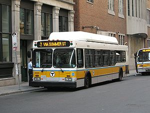 Summer Street Bridge disaster - An MBTA route 7 bus – the descendant of the streetcar route run in 1916 – in downtown Boston