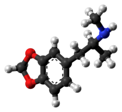 Ball-and-stick model of an MDMA molecule