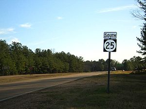 Mississippi Highway 25 - MS 25 as it runs through Rankin County, north of Jackson.