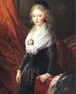 María Teresa de Francia como una joven refugiada en Viena en 1795, después de su pronta partida de la Francia Revolucionaria.