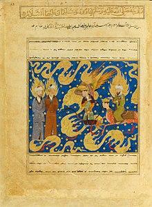 mohammed rechts auf seinem pferdemenschen buraq sitzend trifft im himmel auf david und salomo aus dem miradschname - Knig David Lebenslauf