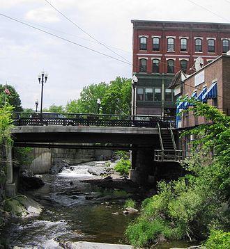 Whetstone Brook - Whetstone Brook as it runs under the Main Street Bridge in downtown Brattleboro, VT