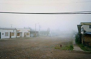 Uranium City - Main Street on a foggy Day