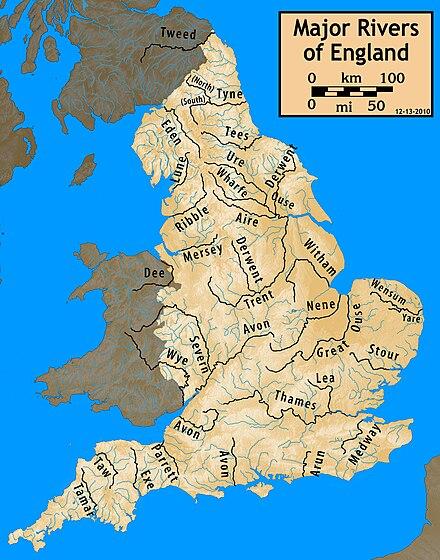 Carte des principaux cours d'eau d'angleterre