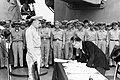 Mamoru Shigemitsu signs the Instrument of Surrender, officially ending the Second World War - Alt (cropped).jpg
