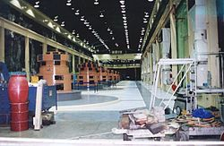 Generators and exciters on the machine floor, prior to refurbishment