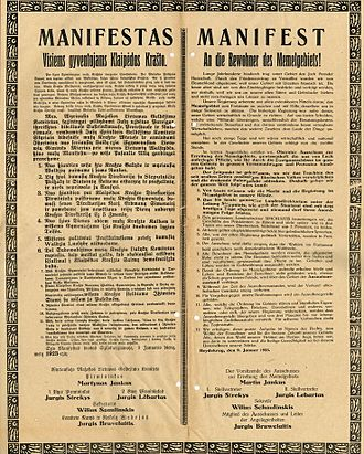 Klaipėda Revolt - Bilingual manifest of January 9, 1923, whereby SCSLM proclaims itself the only governing power in the region