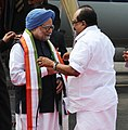 Manmohan Singh being received by the Minister of State (Independent Charge) for Consumer Affairs, Food and Public Distribution, Professor K.V. Thomas, at INS Garuda, Kochi, in Kerala on January 04, 2014.jpg