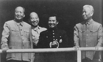 Cambodian Civil War - Meeting in Beijing: Mao Zedong (left), Prince Sihanouk (center), and Liu Shaoqi (right)