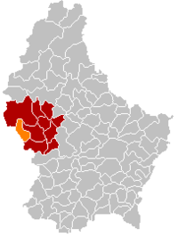 Map of Luxembourg with Ell highlighted in orange, and the canton in dark red