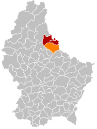 Map of Luxembourg with Tandel highlighted in orange, the district in dark grey, and the canton in dark red