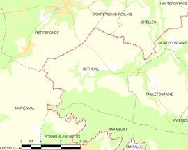 Mapa obce Retheuil