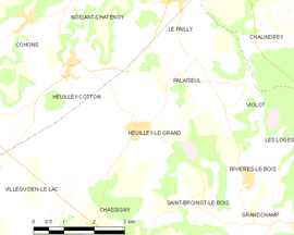 Mapa obce Heuilley-le-Grand
