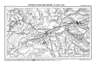 Battle of Blore Heath - Map for Battle of Blore Heath by James Henry Ramsay (1892)