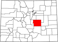 Map of Колорадо highlighting El Paso County