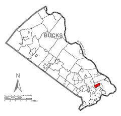 Map of Fairless Hills, Bucks County, Pennsylvania Highlighted.png