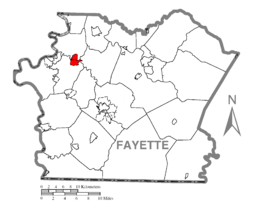 Map Of Grindstone Rowes Run Fayette County Pennsylvania Highlighted