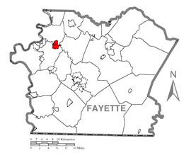 Map of Grindstone-Rowes Run, Fayette County, Pennsylvania Highlighted.png