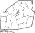 Map of Highland County Ohio Highlighting Sinking Spring Village.png
