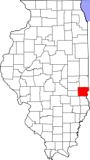 Map of Illinois highlighting Clark County