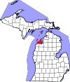 State map highlighting Leelanau County