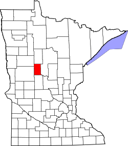 Map of Minnesota highlighting Wadena County.svg