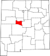 State map highlighting Valencia County
