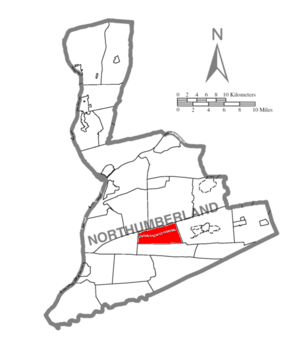 Zerbe Township, Northumberland County, Pennsylvania - Image: Map of Northumberland County Pennsylvania Highlighting Zerbe Township