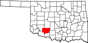Map of Oklahoma highlighting Comanche County.svg