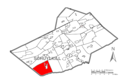 Map of Schuylkill County, Pennsylvania Highlighting Pine Grove Township.PNG