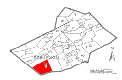 Map of Schuylkill County, Pennsylvania Highlighting Pine Grove Township