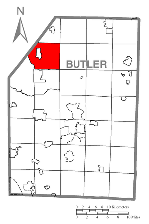 Slippery Rock Township, Butler County, Pennsylvania - Image: Map of Slippery Rock Township, Butler County, Pennsylvania Highlighted