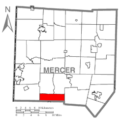 Location of Wilmington Township in Mercer County