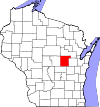State map highlighting Waupaca County