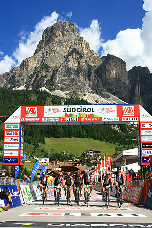 Corvara, South Tyrol - Maratona dles Dolomites finish in Corvara under the Sassongher Mountain