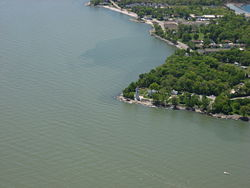 Aerial view of the Marblehead Lighthouse and surrounding parts of the village