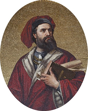 Marco Polo, explorer of the 13th century, recorded his 24 years-long travels in the Book of the Marvels of the World, introducing Europeans to Central Asia and China. Marco Polo Mosaic from Palazzo Tursi.jpg