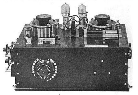 Valve receiver made by Marconi Co. has two Fleming valves, in case one burns out Marconi Valve Tuner.jpg
