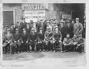 BMT Nassau Street Line -  Group photo taken during construction of the Nassau St Subway, Circa 1928. Front row seated: 3rd from left - Bernard Marcus; 4th from left - Louis Marcus, President Marcus Contracting Co.; 5th from left - Hyman Marcus; 6th from left - Mandel Marcus (later President of Marcus Substructure); 6th from left - Sam Bellows (Son In Law)  - PHOTO COURTESY MARCUS FAMILY COLLECTION