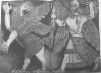 Genesis creation narrative - Marduk, god of Babylon, destroying Tiamat, the dragon of primeval chaos