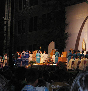 "Roman Catholic (term) - Mass being celebrated at the Vietnamese American ""Roman Catholic Festival"", Marian Days, 2007"