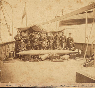 Whitehead torpedo - Argentinian sailors with a Whitehead torpedo, Fiume, Austria, 1888