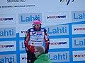 Marit Bjørgen under blomsterseremonien etter 30km kvinner VM i Lahti 2017.jpg