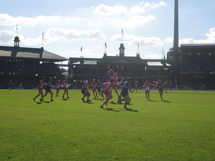 Sydney Swans playing the Western Bulldogs Marking contest between the Sydney Swans and Western Bulldogs @ SCG.jpg