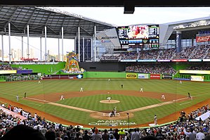 History of the Miami Marlins - The Miami Marlins in front of a sellout crowd at the inaugural Opening Night game at Marlins Park against the reigning World champion St. Louis Cardinals