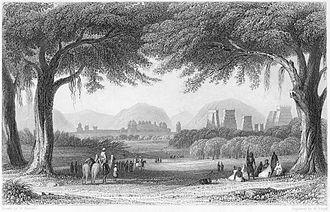Madurai - Hand coloured antique wood engraving drawn by W. Purser (1858) shows Madurai city as seen from the north bank of the Vaigai river
