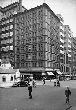 Martin Place and Castlereagh Street; Hotel Australia, Sydney, ca. 1935 - photographers Hall and Co. (7731559286)