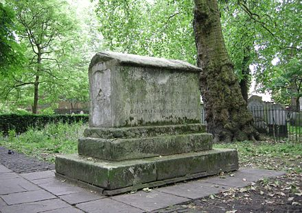 "Monument of Dame Mary Page (died 1729). The inscription reads in part: ""In 67 months she was tap'd [tapped] 66 times, Had taken away 240 gallons of water without ever repining at her case or ever fearing the operation."" Mary Page monument 2.JPG"