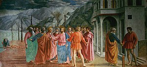 Masaccio - The Tribute Money, fresco in the Brancacci Chapel in Santa Maria del Carmine, Florence